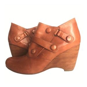 Brown Wedge Booties Tan Leather Straps Buttons 9